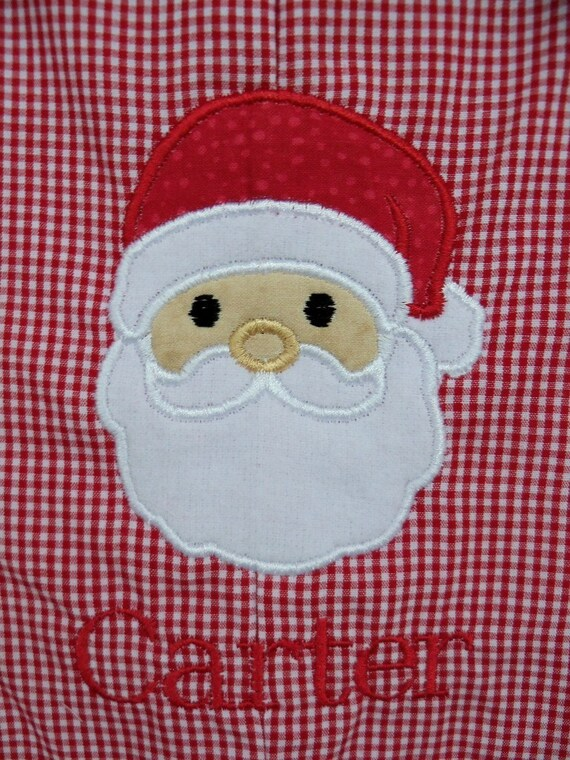 Personalized Santa Red Gingham Longall ---  Sizes 3 months to Toddler 4 ---  3, 6, 9, 12, 18, 24 months, 2, 3, 4