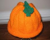 Hand Knit Child's Pumpkin Hat