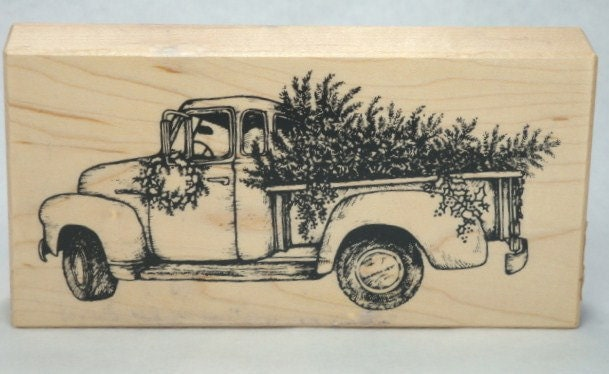 Rubber Stamp Pick Up Truck Christmas Tree
