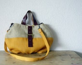 Le Cabas - Leather Handles Tote in Orange and Natural Burlap - NEW