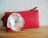 Simplicity Clutch - Red Burlap with Repurposed Cotton - NEW
