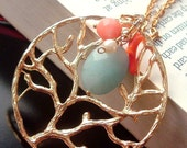 The Coral Reef - Blue Aquamarine, Pink Red Coral and Freshwater Pearl Gold Necklace, Mothers Day Gift for Mom