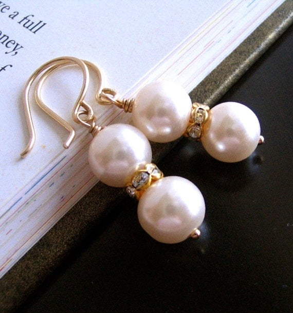 Freshwater Pearl and Rhinestone Gold Filled Earrings (available in silver), Bridal Bridesmaid Gift set Wedding, Mothers Day Gift for Mom