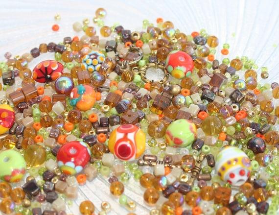 Bead Soup Handmade Lampwork Beads Orange Brown Fire Polished Mix