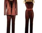 1980s Vintage Irene Galitzine Silk Brocade Jumpsuit