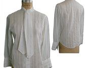 1970s Vintage White Cotton Secretary Blouse