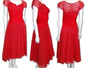 1950s Vintage Red Taffeta Ruffle and Net Dress