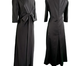 Bergdorf Goodman Black Silk Satin Gown 1960
