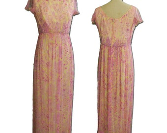 1960s Vintage Beaded Chiffon Empire Gown