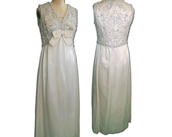1960s Vintage Ivory Embroidered Satin Empire Gown