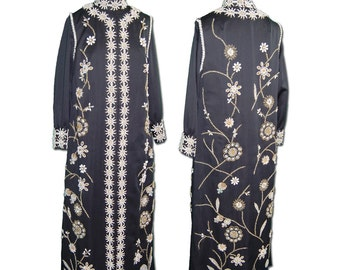1970s Vintage Black Silk Beaded Dress