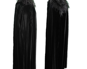 Vintage Black Velvet and Ostrich Feather Hooded Cape