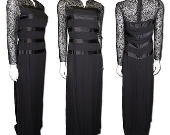 Evening Gown Black Silk  with Embroidery