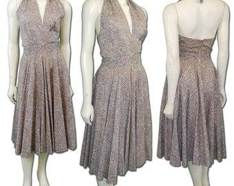 1950s Vintage Printed Cotton Halter Dress