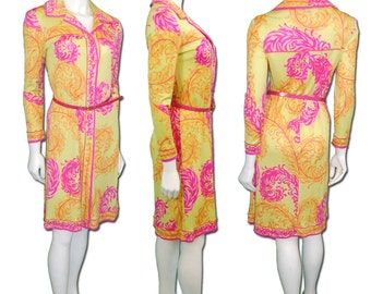 1960s Vintage Emilio Pucci Silk Jersey Shirt Dress