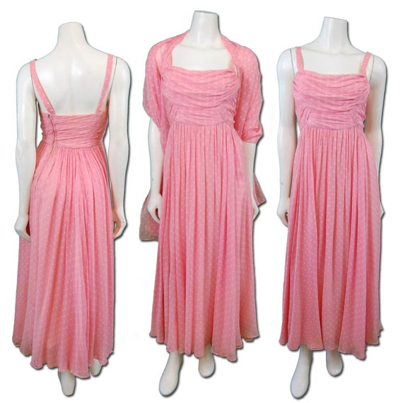 1960s Vintage Pink Polka Dot Chiffon Dress Prom Party