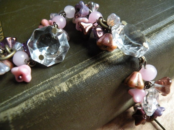 Crystal and Pink Flowers Bracelet