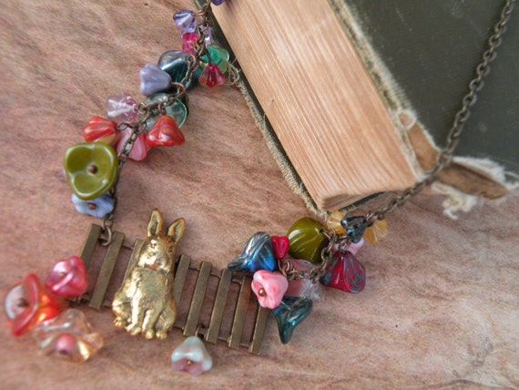 Easter Rabbit Floral Necklace - Bunny by the Garden Fence