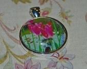 Photo Pendant-Pink Tulip Photo Jewelry-Fine Art Photography-Butchart Gardens-Silver Pendant-Wearable Art