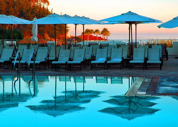 Pool Umbrellas-Beach Umbrellas- Pool Reflections-Turqoise Sunset-Fine Art Photography-Home Decor-Wall Art