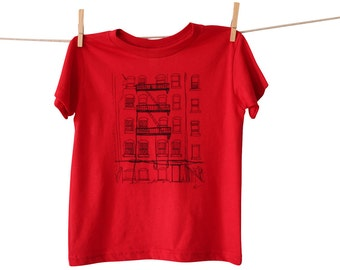 Brooklyn Alley Toddler Tshirt, Hand-Printed EcoFriendly Lithograph, American Apparel Tee, Red, 2T is Ready to Ship