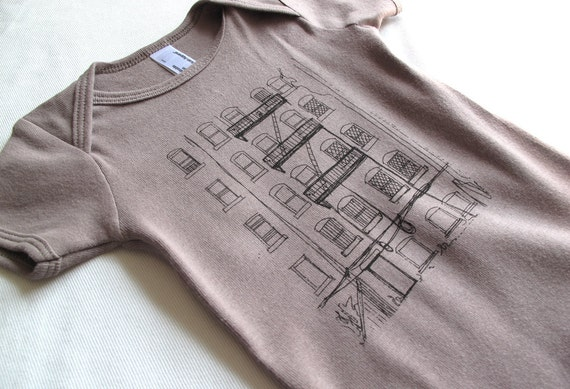 Brooklyn Alley Baby Onesie, Hand-printed Lithograph, Organic Infant Bodysuit, Cinder, 3-6 months, Ready to Ship, As Seen on Etsy Finds