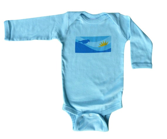I'm a Happy Bird Baby Onesie, Long Sleeved, Light Blue, 6 months (SALE)