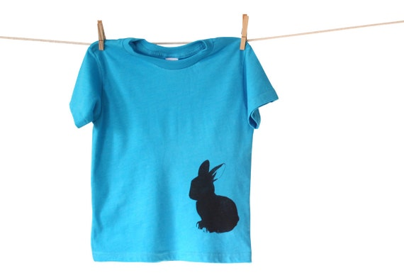 Pocket Bunny Toddler Kid Tshirt, Eco Friendly Hand Printed Lithograph, American Apparel Neon Blue, Ready to Ship 6T