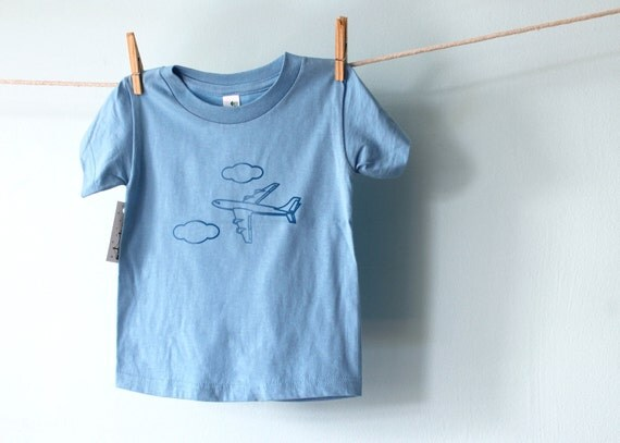 SALE, Ready to Ship, Vacation Clouds Airplane Girl Boy Toddler Tshirt, Organic Cotton Light Blue Kid Tee, 2T