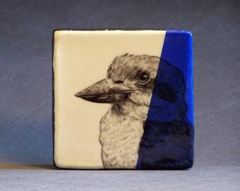 Hand Painted Kookaburra Portrait Wall Tile Blue