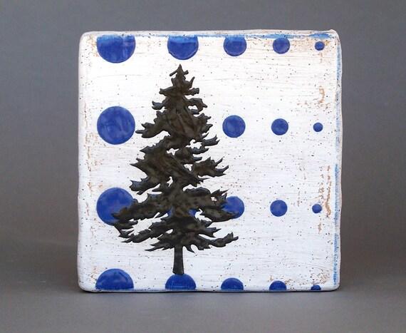 Pine Tree Blue Wall Tile