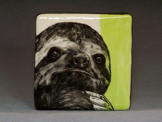 Hand Painted Sloth Portrait Wall Tile Chartreuse