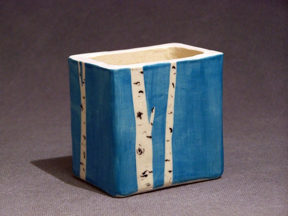 Hand Painted Aspen Tree Pencil Box Turquoise