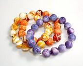 Exotic Sunset Bracelets Sterling Set of Three Violet Purple Sunshine Yellow and Juicy Orange Gemstone by Mei Faith