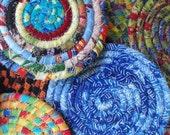 15 Custom Made Mixed Fabric Coiled Coasters