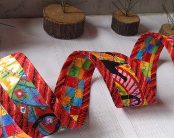 Womens Reversible Sash Belt Handmade by Me - Wearable Art - Fits up to 36 1/2 Inch Waist - ON SALE