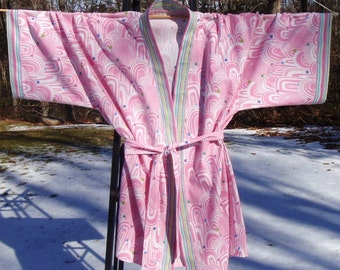 Kimono Robe - Pink Emerald City - Size Extra Large - Ready to Ship, Handmade by Me