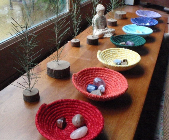 Chakra Bowls, Coiled Baskets for Your Altar, Yoga Studio or Reiki Practice - Set of 7