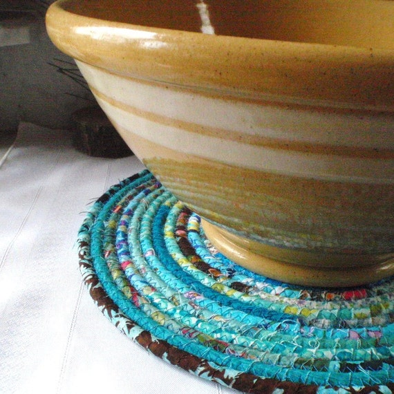 Bohemian Coiled Turquoise Table Mat or Chair Pad - LARGE ROUND