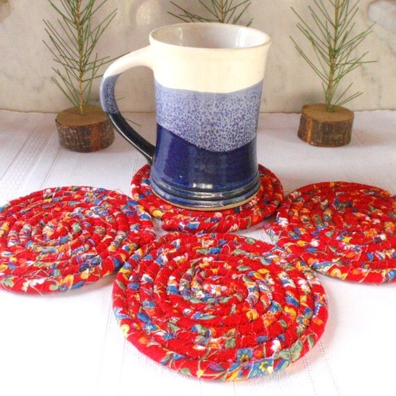 Coiled Coasters - Truly Red  - Set of 4