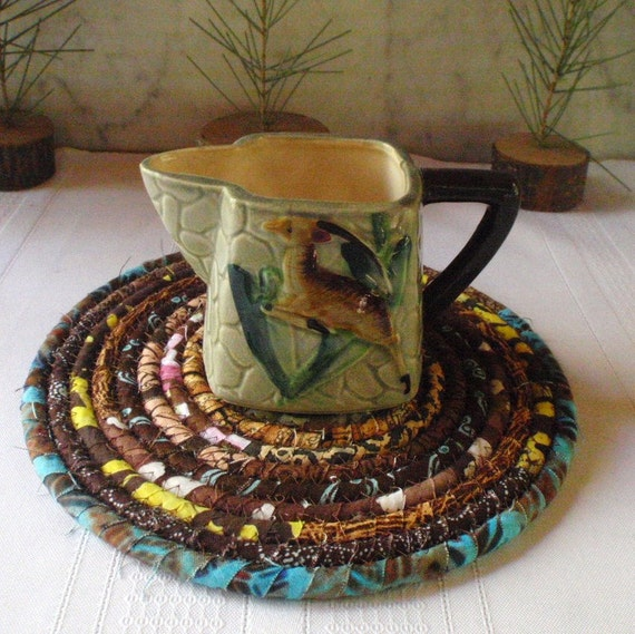 Hot Pad, Trivet, Candle Mat - Bohemian Coiled Brown Mat - Small Round