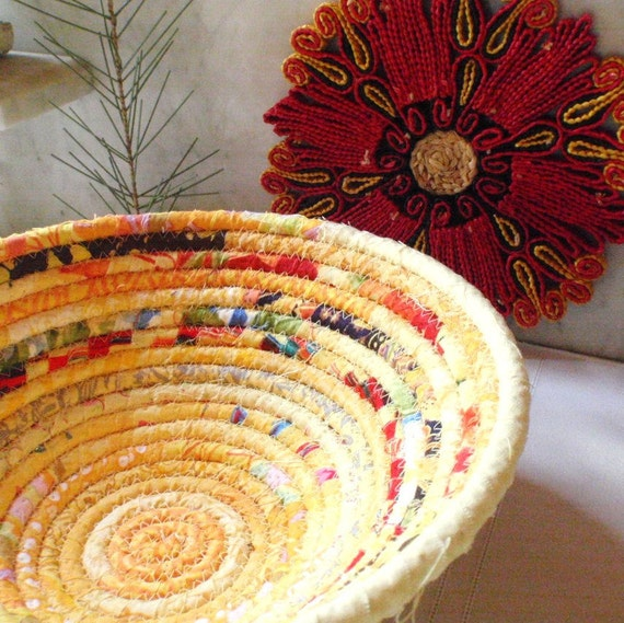Coiled Fabric Basket - Yellow Gypsy