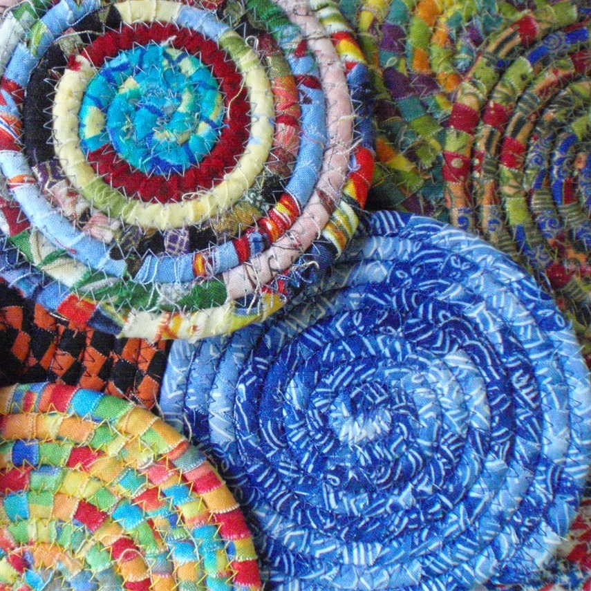 15 Custom Made Mixed Fabric Coiled Coasters
