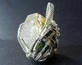 Wire wrapped pendant large Herkimer diamond quartz with green tourmaline