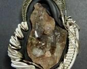 Smokey Quartz polymer clay wire wrapped pendant