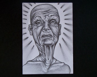Creepy Old Woman part two aceo Original pencil drawing