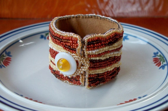 RESERVED for LaRee Bacon and egg bead embroidered bracelet