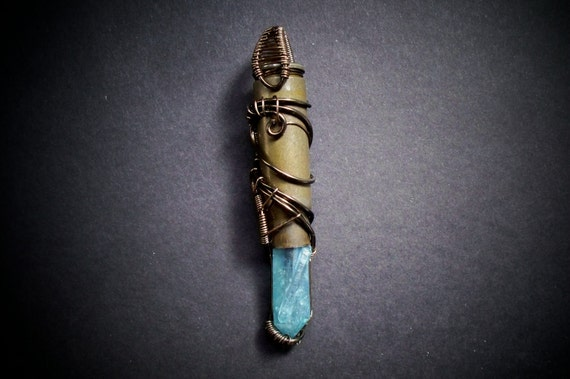 Aqua aura quartz crystal wire wrapped bullet pendant