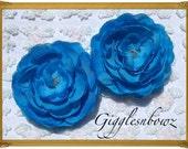 Set of TWO Beautiful Scallop Edge Silk Ranunculus Flowers TURQUOISE