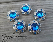 Sale!! Rhinestone Buttons- 5 Pc Vintage Style Royal Blue 21mm- Headband Supplies, Hair Bow Centers, Diy Rhinestone Buttons, Flower Centers